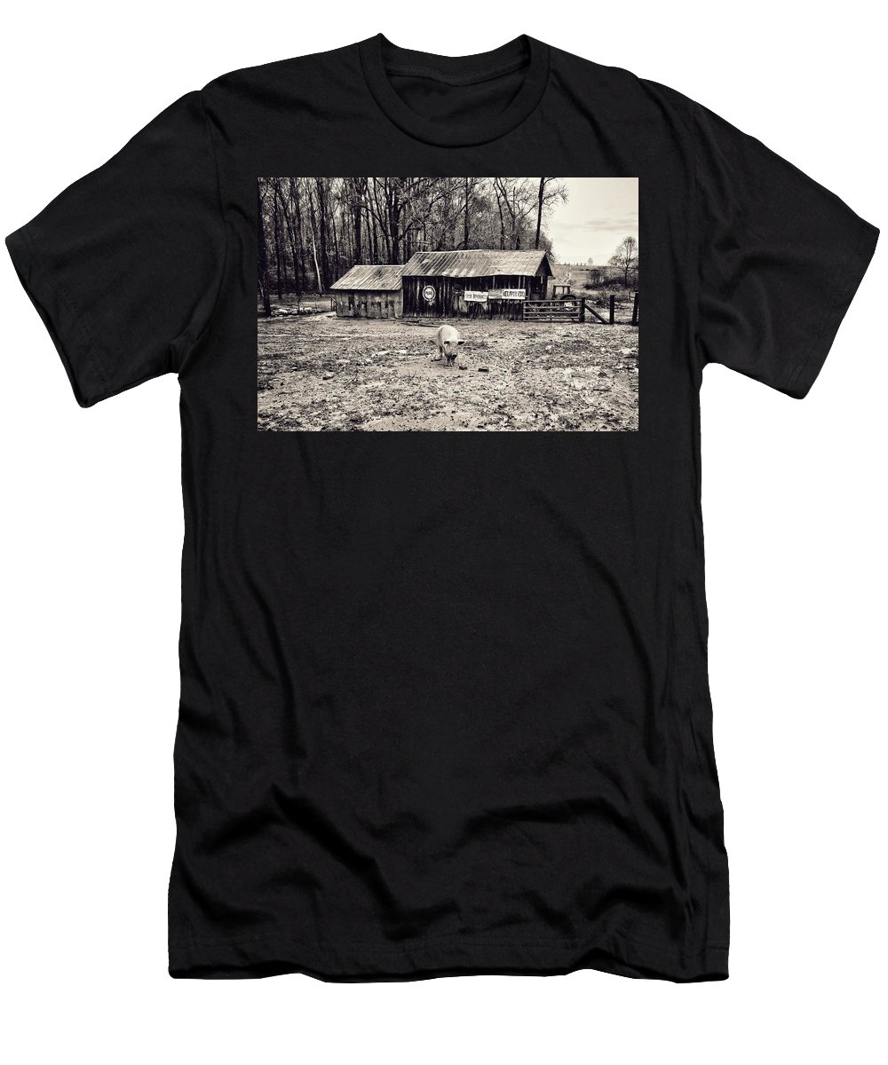 Pig Farm Men's T-Shirt (Athletic Fit) featuring the photograph Pig Farm Lot B by John Myers