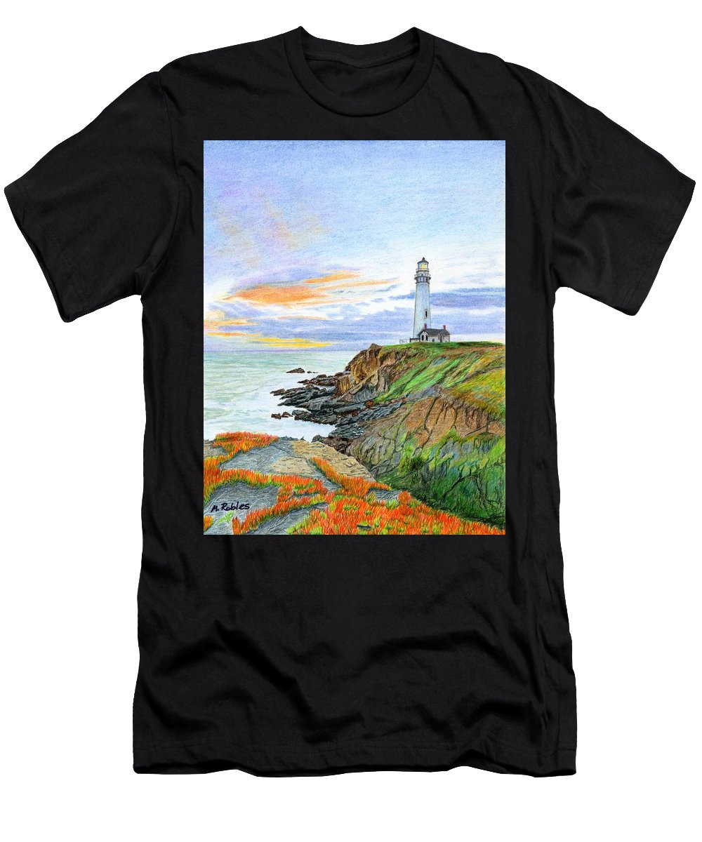 Lighthouse Men's T-Shirt (Athletic Fit) featuring the painting Pigeon Point Sunset by Mike Robles