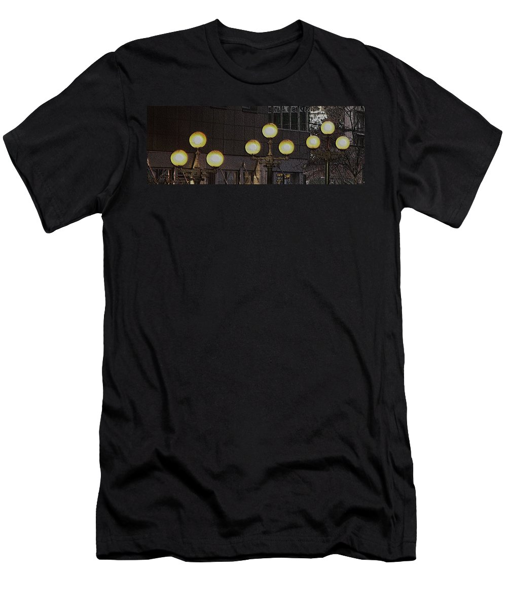 Seattle Men's T-Shirt (Athletic Fit) featuring the digital art Pike Lights by Tim Allen