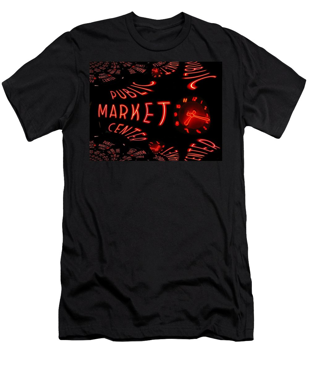 Seattle Men's T-Shirt (Athletic Fit) featuring the digital art Pike Place Market Entrance 6 by Tim Allen