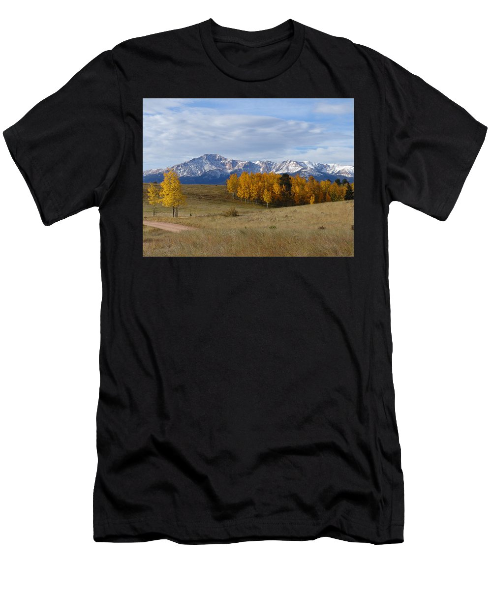 Fall Men's T-Shirt (Athletic Fit) featuring the photograph Pikes Peak In The Fall by Carol Milisen