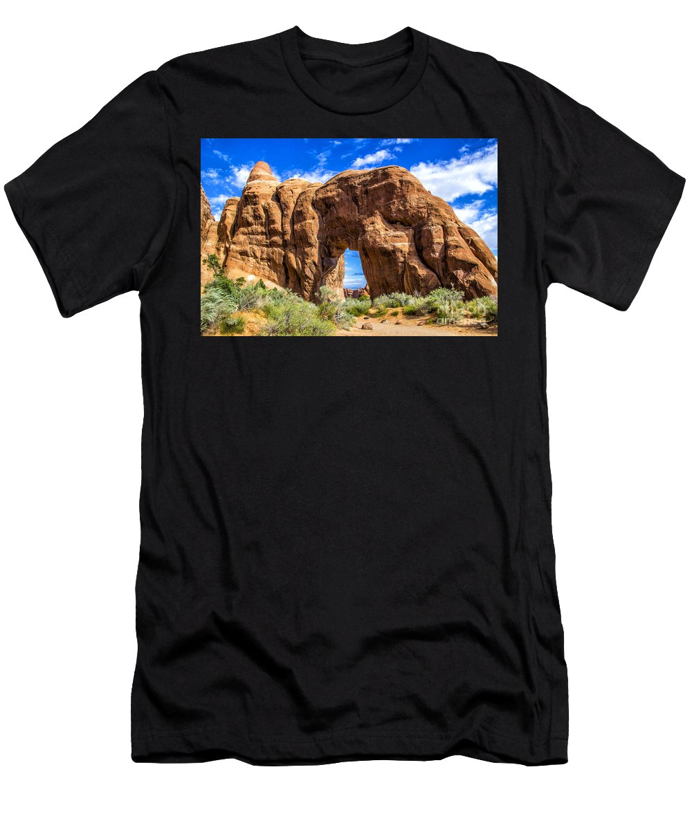 Arches Men's T-Shirt (Athletic Fit) featuring the photograph Pine Tree Arch by Roberta Bragan