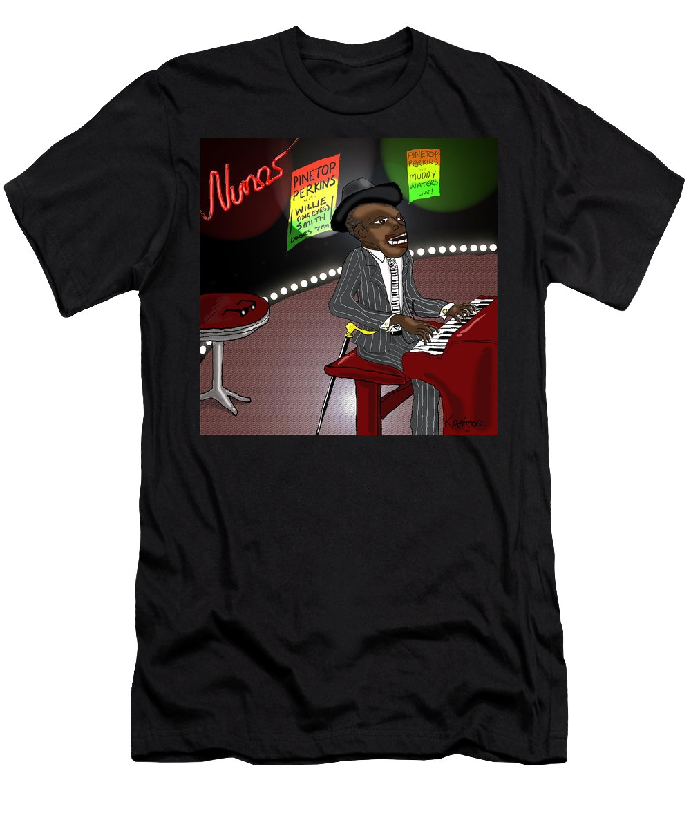 Musician Art Men's T-Shirt (Athletic Fit) featuring the digital art Pinetop Perkins by Kev Moore