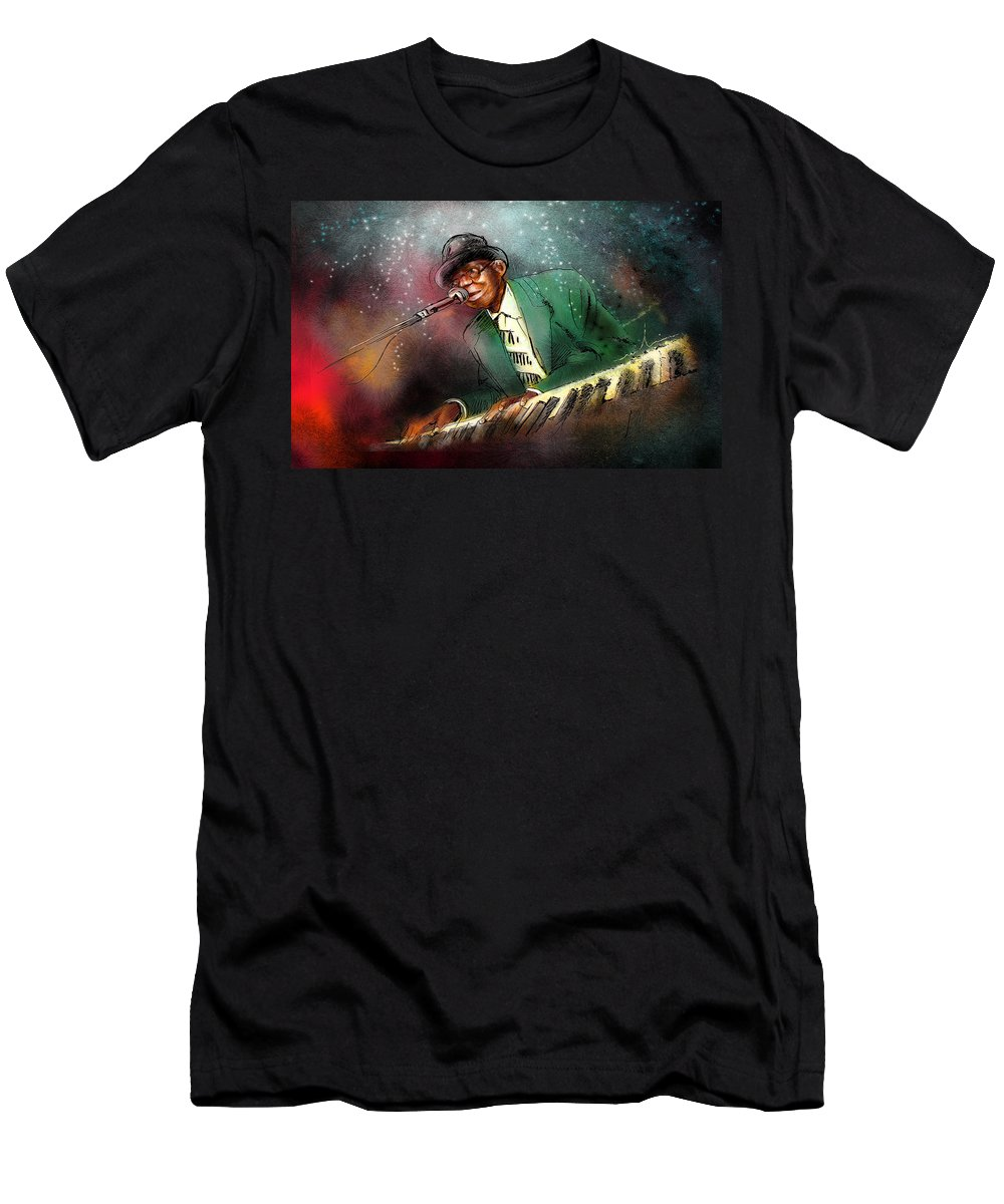 Pinetop Perkins Men's T-Shirt (Athletic Fit) featuring the painting Pinetop Perkins by Miki De Goodaboom