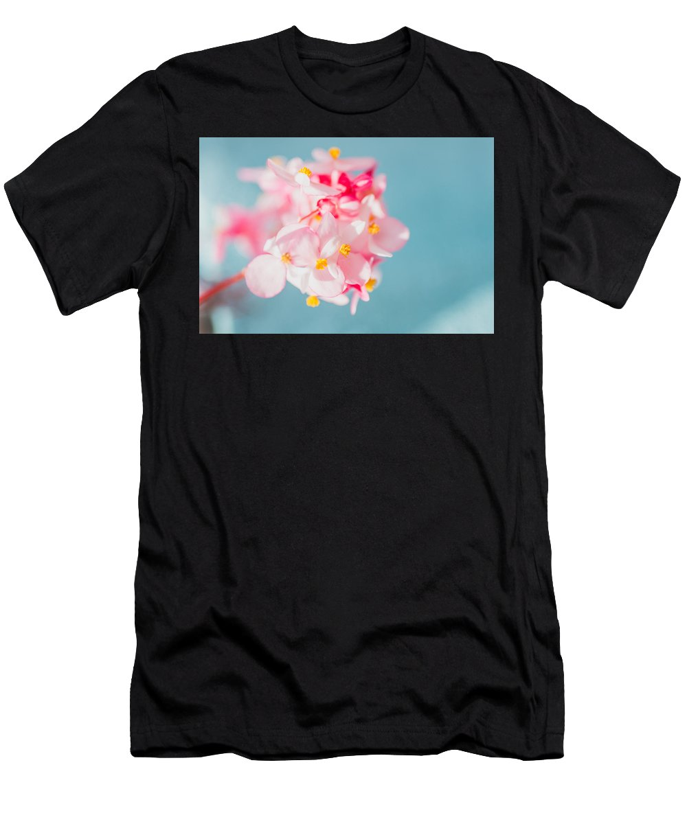 Flowers Men's T-Shirt (Athletic Fit) featuring the photograph Pink And Baby Blue by Lance Laurence