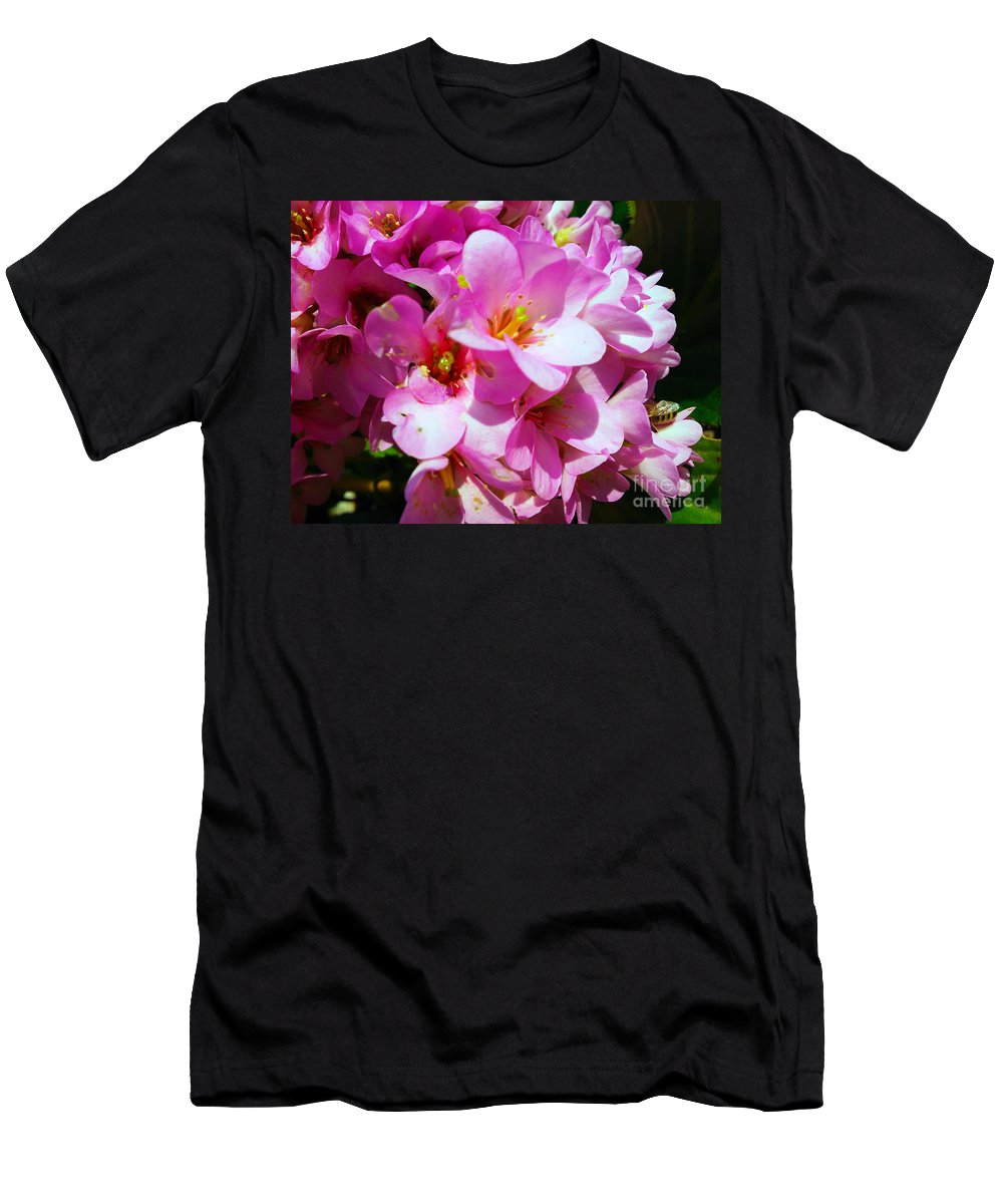 Bergenia Cordifolia Men's T-Shirt (Athletic Fit) featuring the photograph Pink And Beauty by Jasna Dragun
