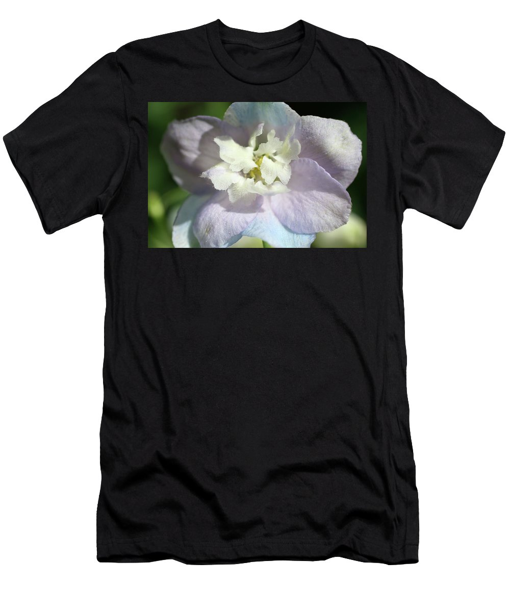 Close-up Photo Photography Flower Plant Pink Blue Purple Pastel White Men's T-Shirt (Athletic Fit) featuring the photograph Pink And Blue Pastel Flower by Christina Geiger