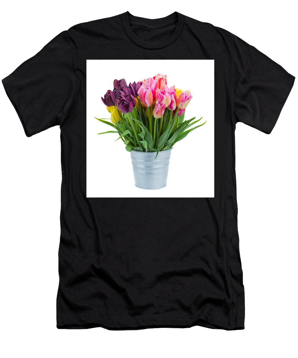 Tulip Men's T-Shirt (Athletic Fit) featuring the photograph Pink And Violet Tulips by Anastasy Yarmolovich