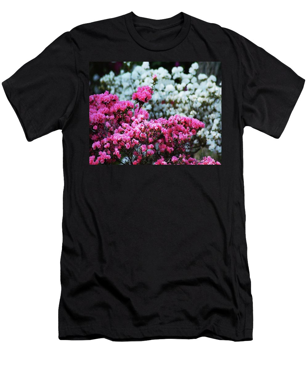 Alabama Photographer Men's T-Shirt (Athletic Fit) featuring the digital art Pink And White Azelas by Michael Thomas
