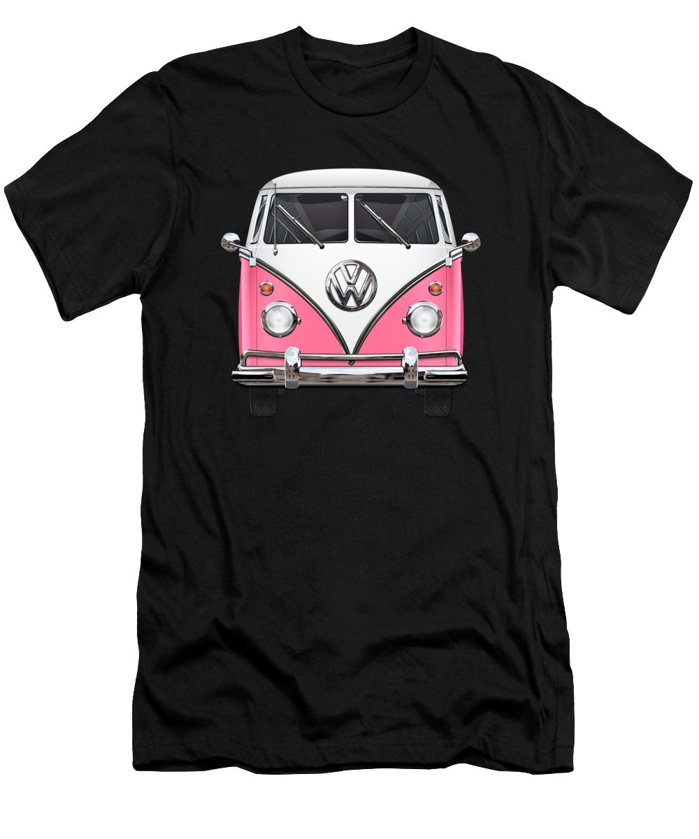'volkswagen Type 2' Collection By Serge Averbukh Men's T-Shirt (Athletic Fit) featuring the photograph Pink And White Volkswagen T 1 Samba Bus On Yellow by Serge Averbukh