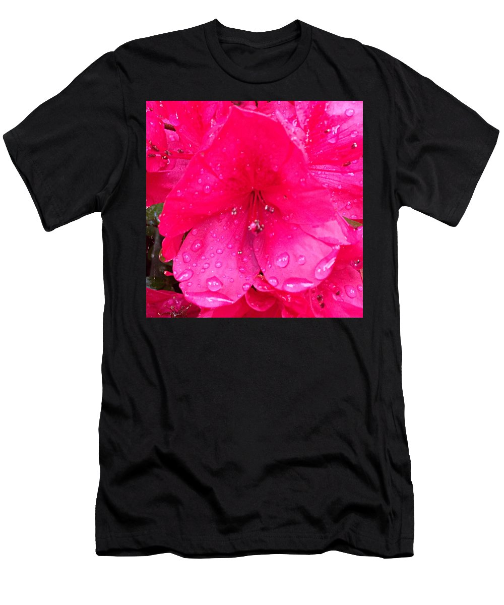Flower Men's T-Shirt (Athletic Fit) featuring the photograph Pink Azalea After Spring Rain by Wade Morgan