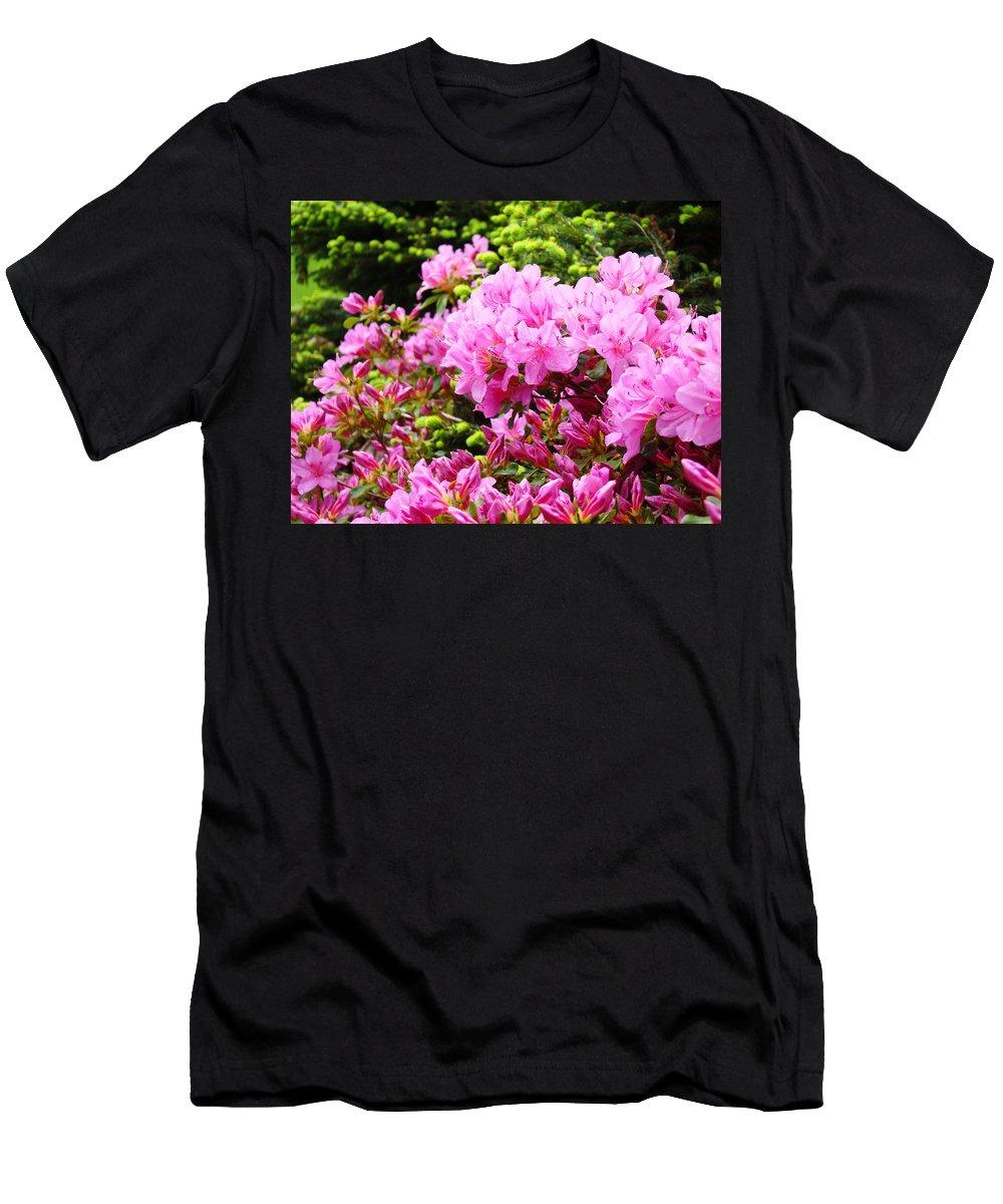 �azaleas Artwork� Men's T-Shirt (Athletic Fit) featuring the photograph Pink Azalea Flowers Landscape 11 Art Prints Canvas Artwork Framed Art Cards by Baslee Troutman