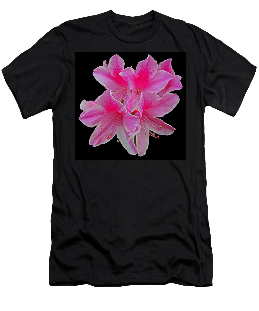 Digital Art Men's T-Shirt (Athletic Fit) featuring the photograph Pink Azaleas by Marian Bell