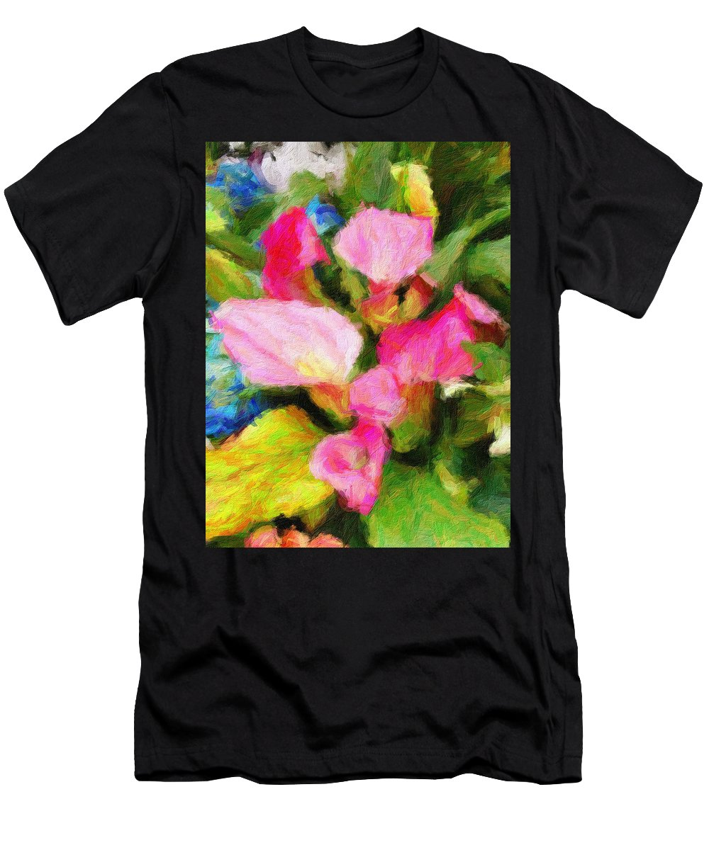 Flowers Men's T-Shirt (Athletic Fit) featuring the digital art Pink Calla Lilly by Sarah West