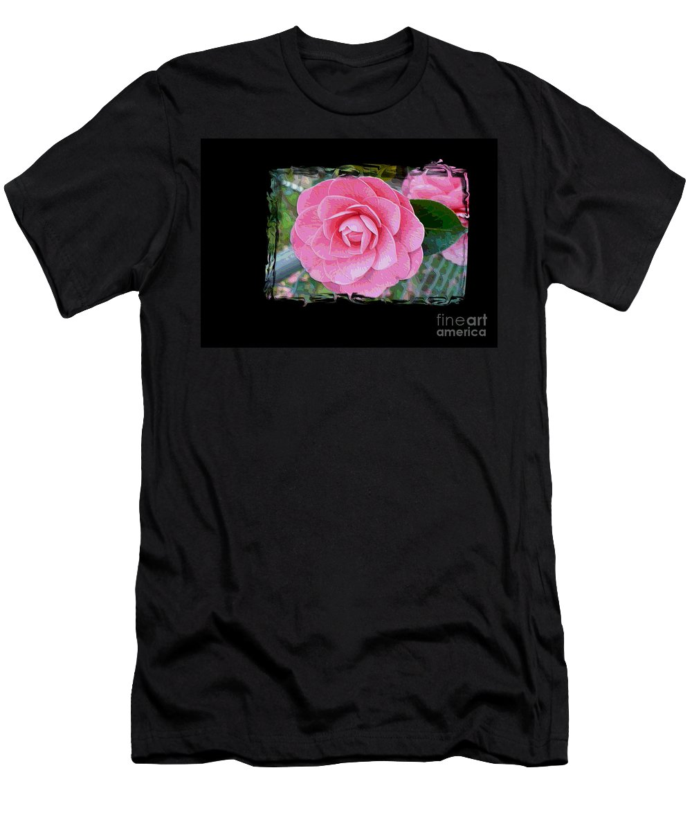 Pink Camelllias Men's T-Shirt (Athletic Fit) featuring the photograph Pink Camellias With Fence And Framing by Carol Groenen