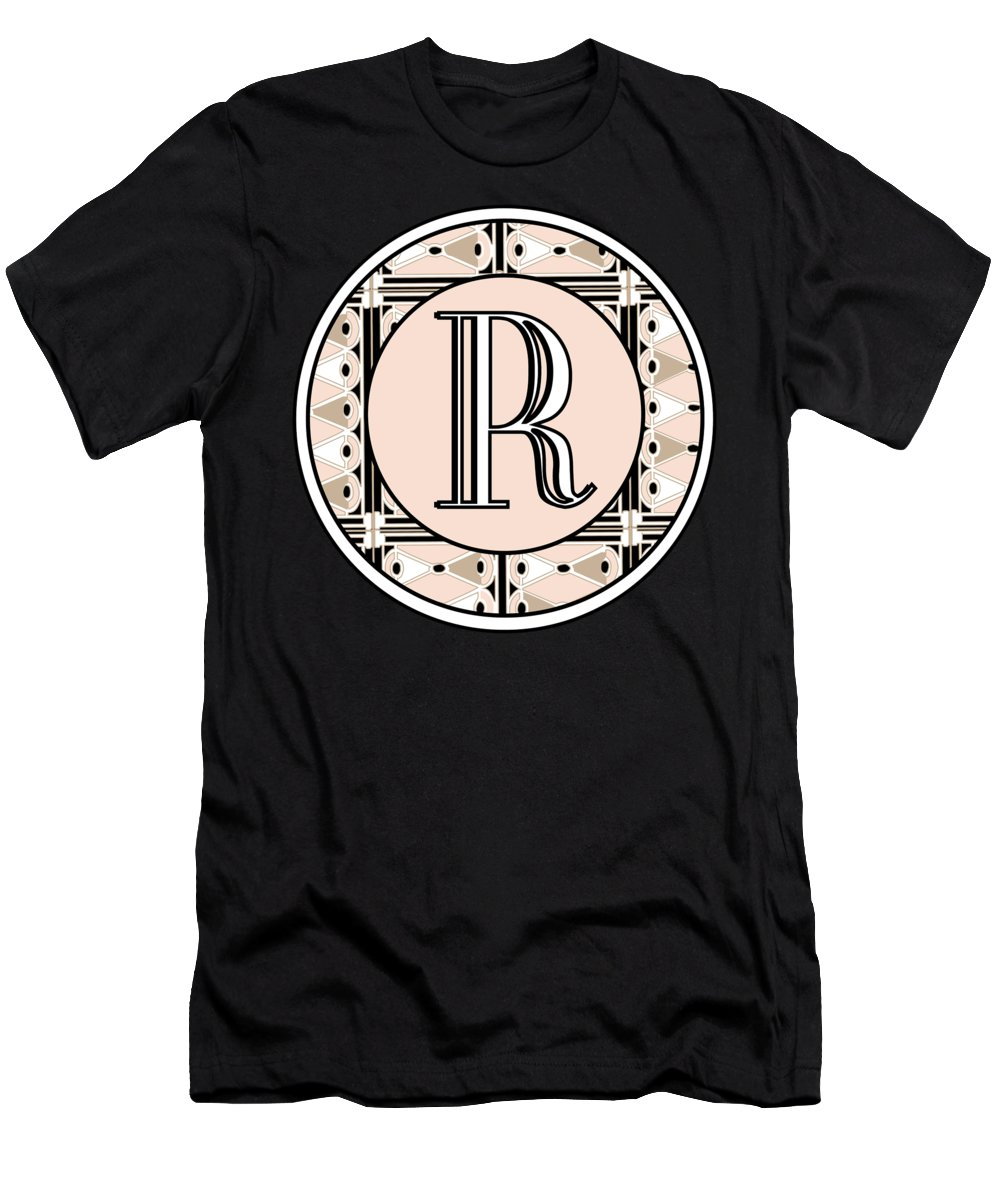 Art Deco T-Shirt featuring the digital art Pink Champagne Deco Monogram R by Cecely Bloom