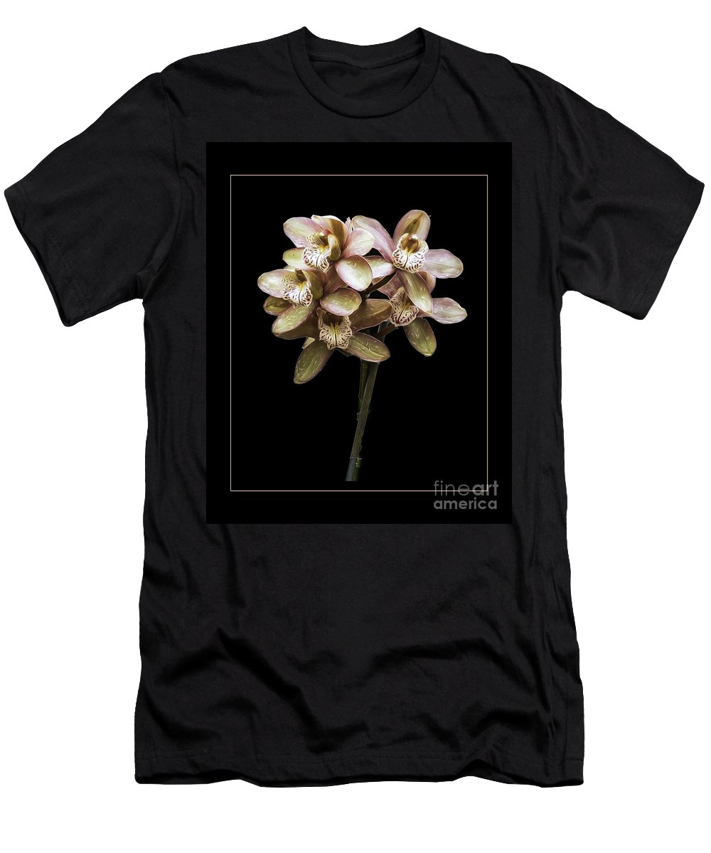 Prchid Men's T-Shirt (Athletic Fit) featuring the photograph Pink Cymbidium Orchid by Darleen Stry