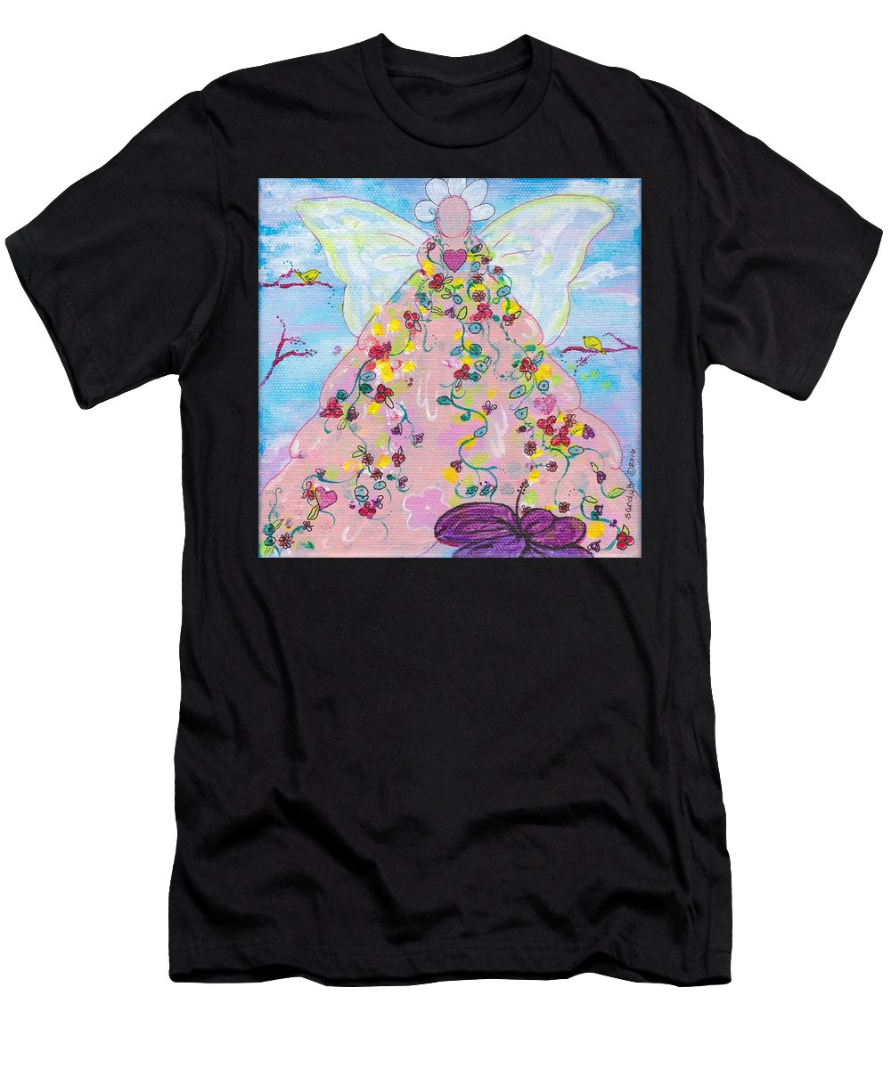 Whimsical Men's T-Shirt (Athletic Fit) featuring the painting Pink Flower Angel by Sandy Burch