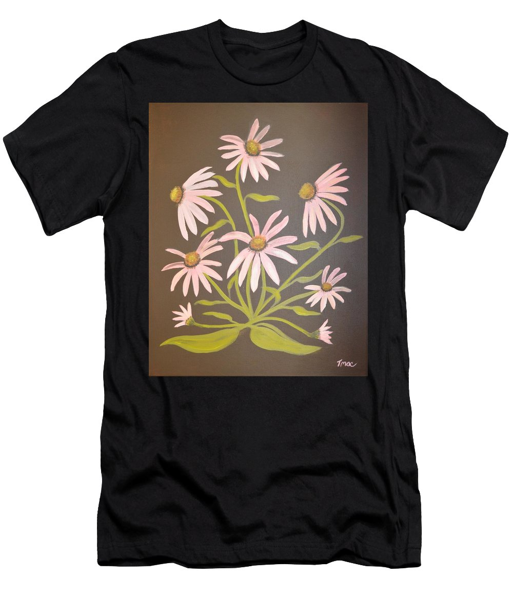 Pink Men's T-Shirt (Athletic Fit) featuring the painting Pink Flowers With Brown Background by Teresa French McCarthy