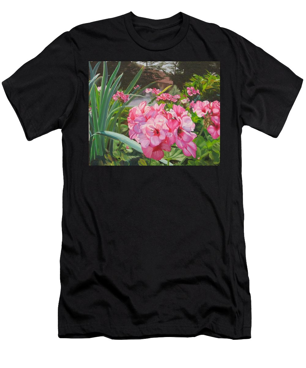 Pink Geraniums T-Shirt featuring the painting Pink Geraniums by Lea Novak