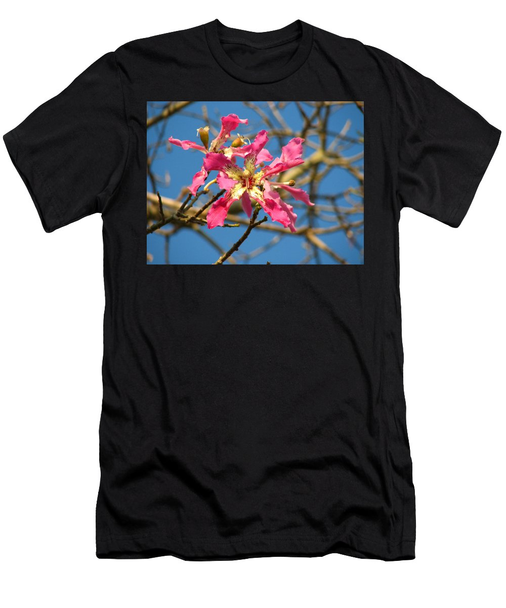 Orchid Men's T-Shirt (Athletic Fit) featuring the photograph Pink Orchid Tree by Carla Parris