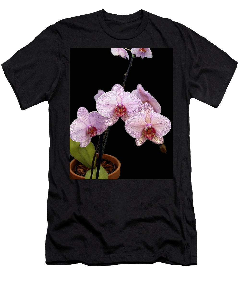 Flowers Men's T-Shirt (Athletic Fit) featuring the photograph Pink Orchids by Kurt Van Wagner