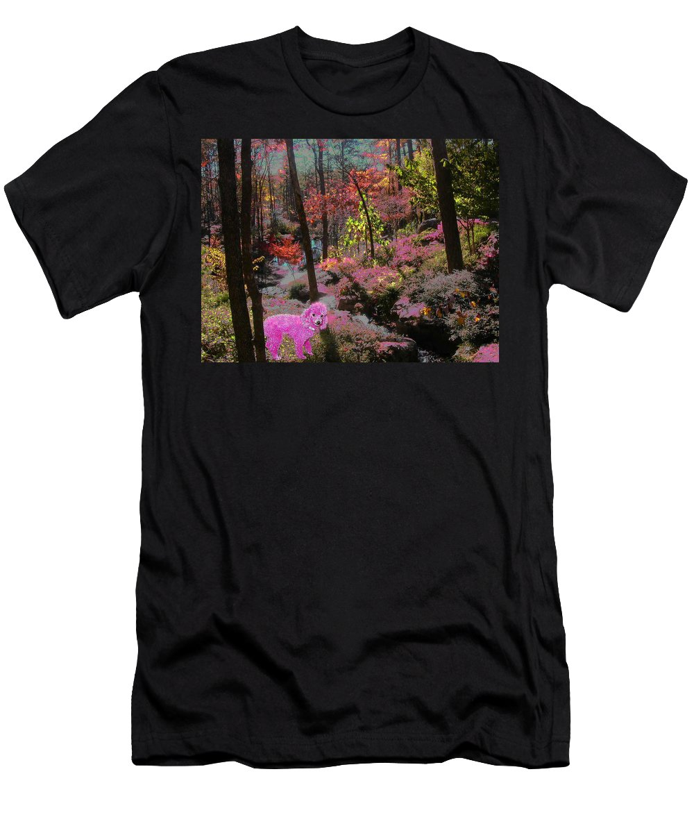 Pink Poodle Men's T-Shirt (Athletic Fit) featuring the photograph Pink Poodle Paradise by Anne Cameron Cutri