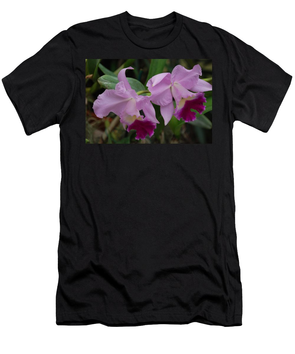 Macro Men's T-Shirt (Athletic Fit) featuring the photograph Pink Purple Orchids by Rob Hans