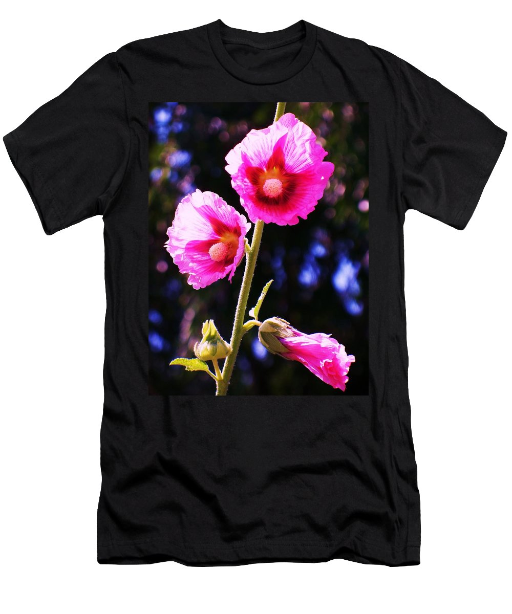 Nature Men's T-Shirt (Athletic Fit) featuring the painting Pink Red Flower by Eric Schiabor