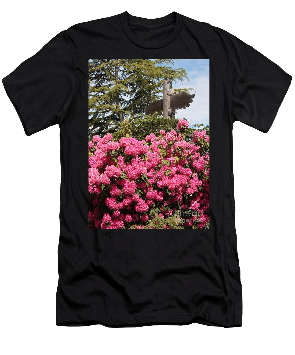 Northwest Men's T-Shirt (Athletic Fit) featuring the photograph Pink Rhododendrons With Totem Pole by Carol Groenen