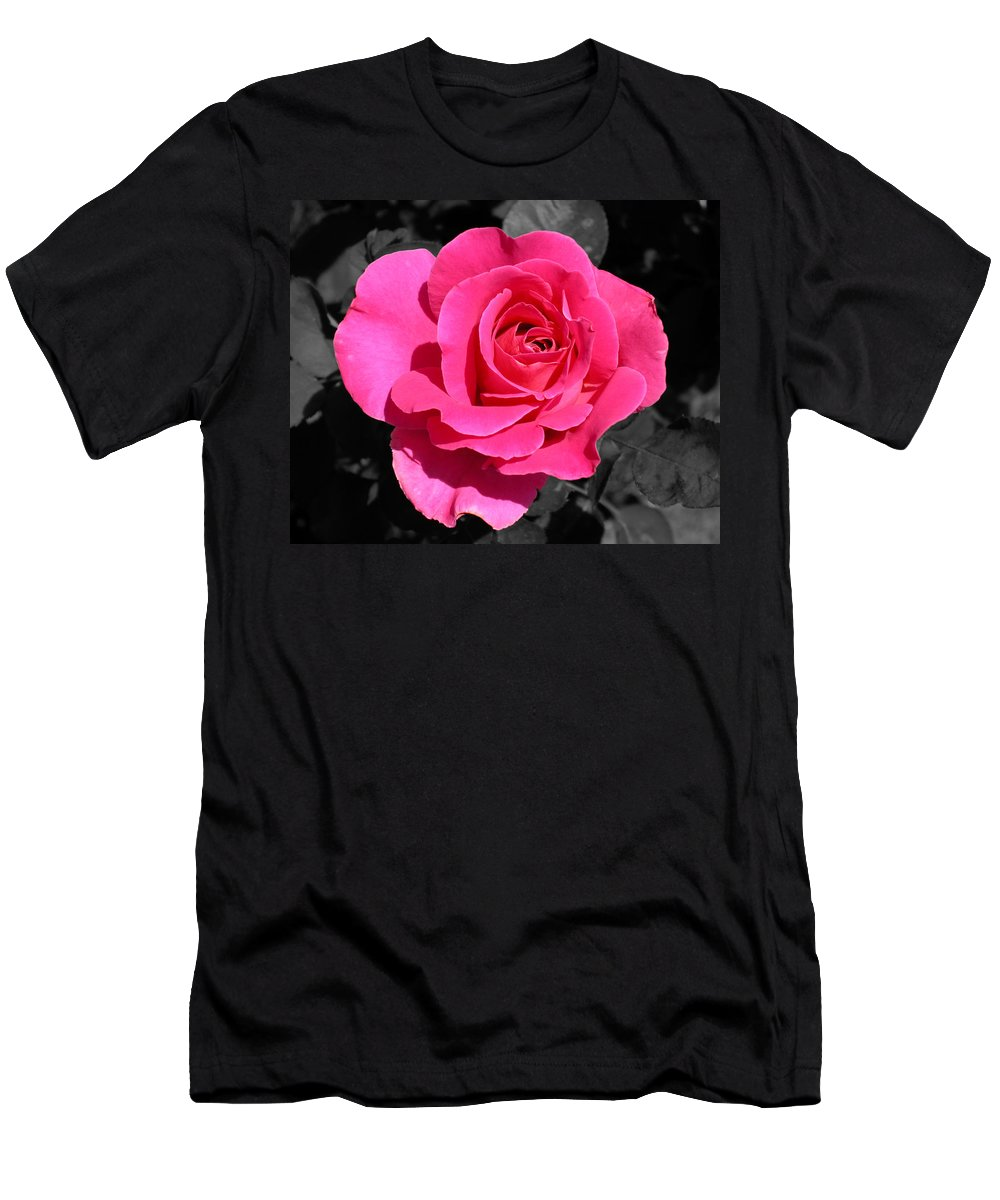 Pink Men's T-Shirt (Athletic Fit) featuring the photograph Perfect Pink Rose by Michael Bessler