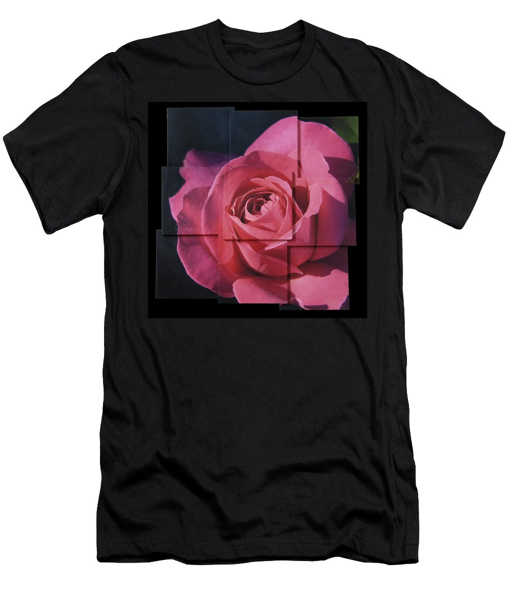Rose Men's T-Shirt (Athletic Fit) featuring the sculpture Pink Rose Photo Sculpture by Michael Bessler