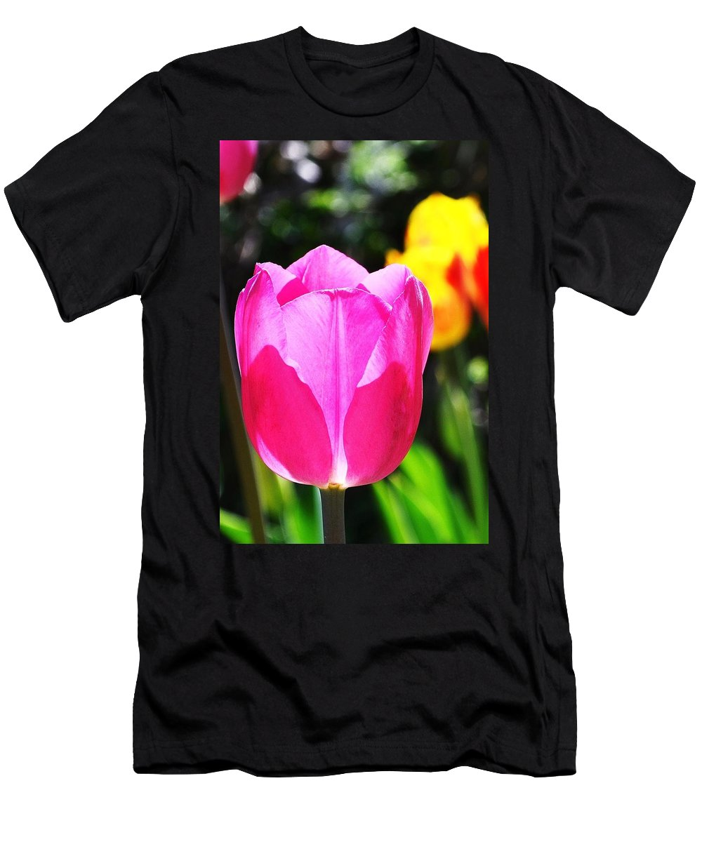 Pink Tulip Men's T-Shirt (Athletic Fit) featuring the photograph Pink Tulip In Sunlight by Kim Bemis