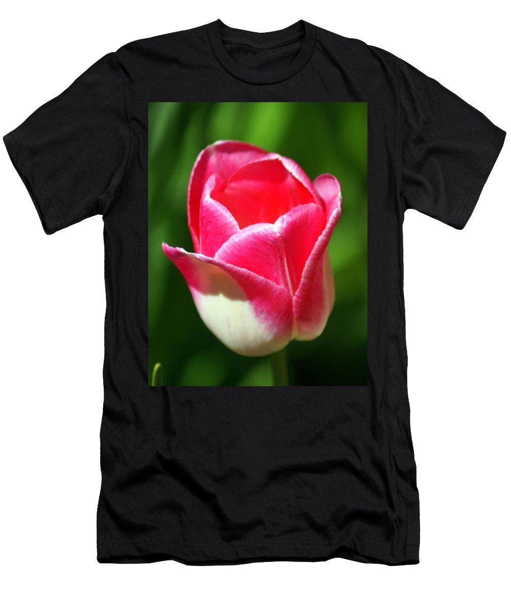Flower Men's T-Shirt (Athletic Fit) featuring the photograph Pink Tulip by Marty Koch