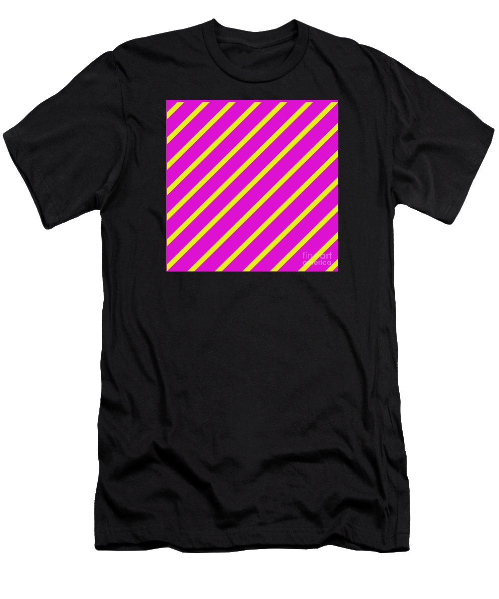 Unique Men's T-Shirt (Athletic Fit) featuring the digital art Pink Yellow Angled Stripes by Susan Stevenson