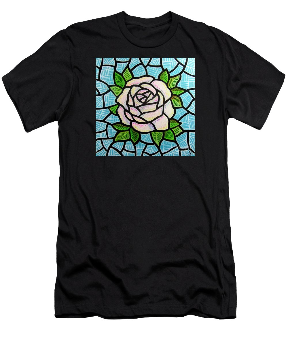 Rose Men's T-Shirt (Athletic Fit) featuring the painting Pinkish Rose by Jim Harris