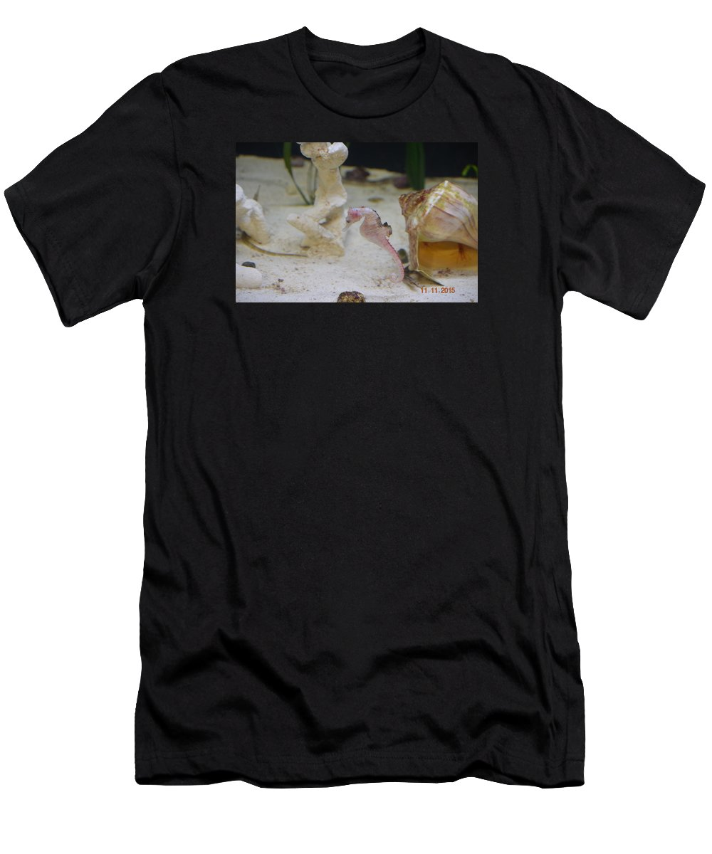 Pink Seahorse And Shells Men's T-Shirt (Athletic Fit) featuring the photograph Pinky by Shellda Patino