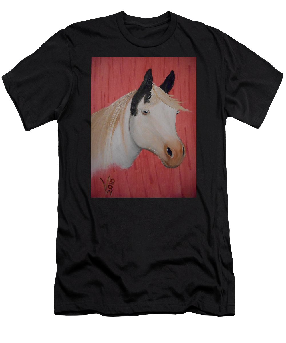 Oil Men's T-Shirt (Athletic Fit) featuring the painting Pinto Beauty by Valenteana J Chilsted