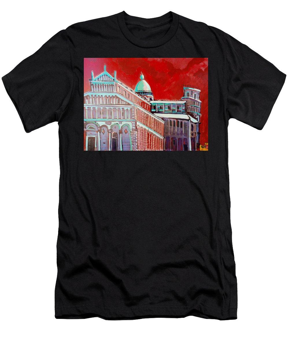Pisa Men's T-Shirt (Athletic Fit) featuring the painting Pisa by Kurt Hausmann