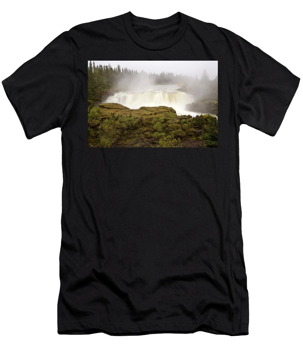 Water Men's T-Shirt (Athletic Fit) featuring the digital art Pisew Falls Northern Manitoba Canada by Mark Duffy
