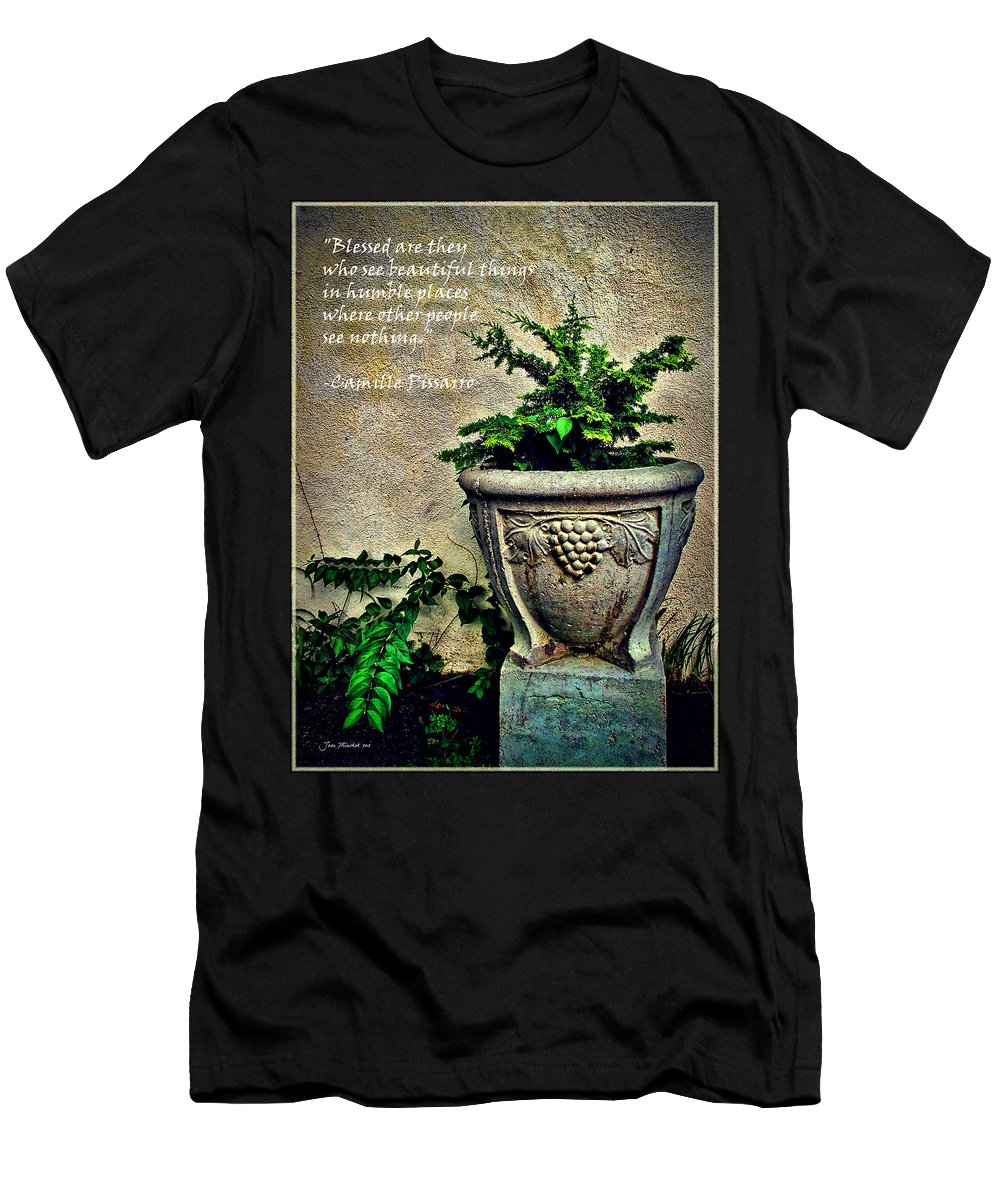\blessed Are They Who See Beautiful Things In Humble Places Where Other People See Nothing.\ Men's T-Shirt (Athletic Fit) featuring the photograph Pissarro Inspirational Quote by Joan Minchak