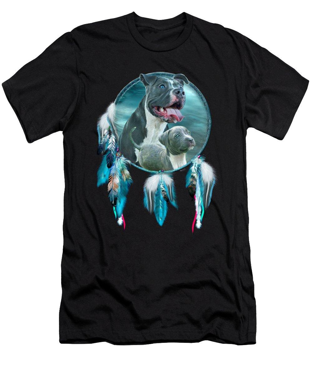 Rez Dog Cover Art Men's T-Shirt (Athletic Fit) featuring the mixed media Pit Bulls - Rez Dog by Carol Cavalaris