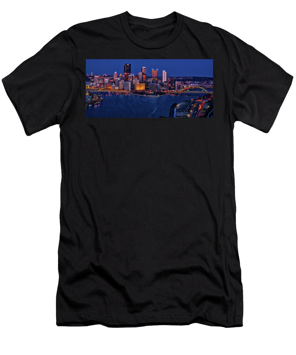 Pennsylvania Men's T-Shirt (Athletic Fit) featuring the photograph Pittsburgh At Night by Stewart Helberg