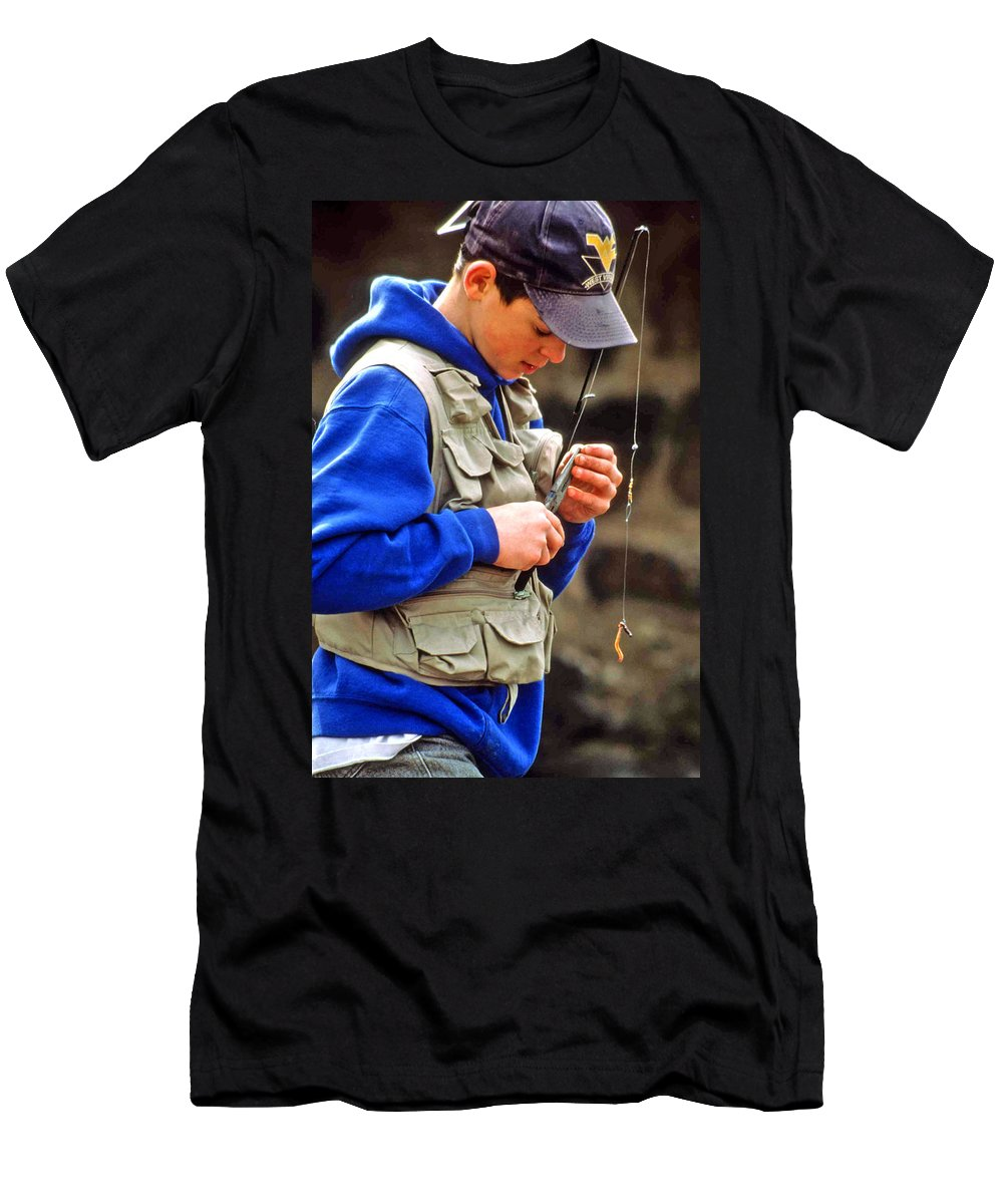 Boy Fishing Men's T-Shirt (Athletic Fit) featuring the photograph Plan To Succeed by Laurie Paci