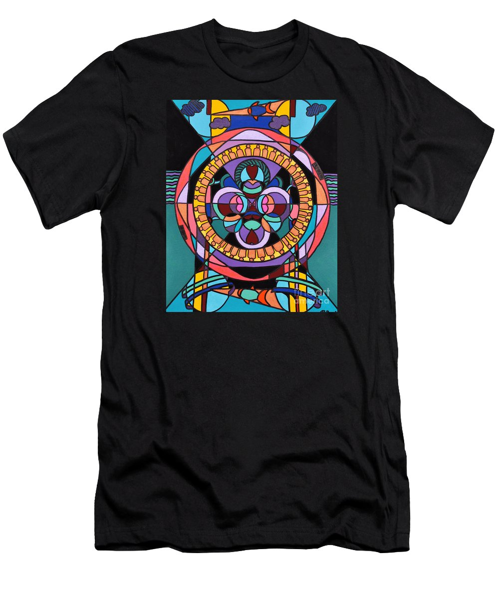 Surreal - Dream Works-mandala Men's T-Shirt (Athletic Fit) featuring the painting Planet Earth by Reb Frost