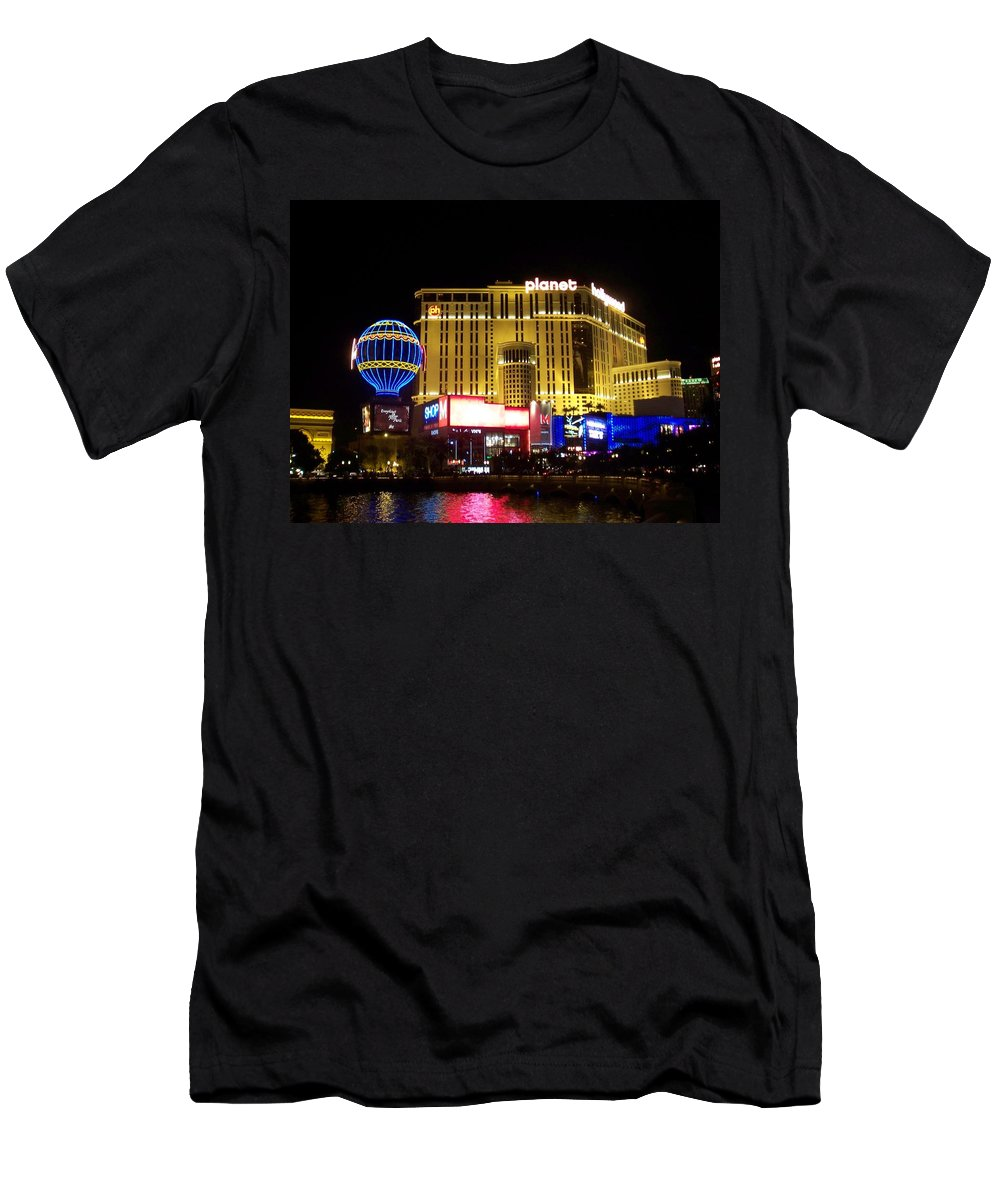Vegas Men's T-Shirt (Athletic Fit) featuring the photograph Planet Hollywood By Night by Anita Burgermeister