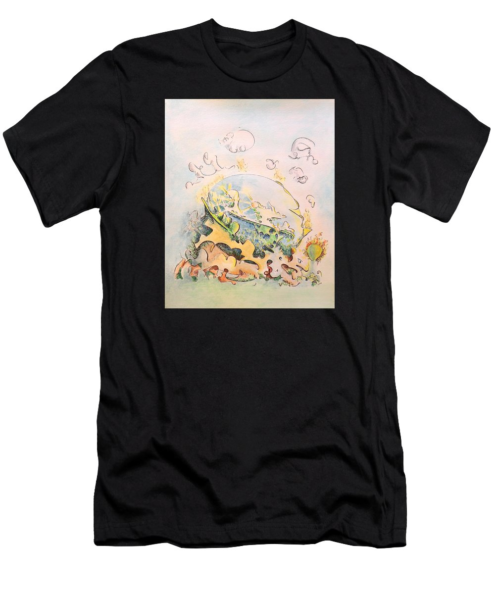 Planet Men's T-Shirt (Athletic Fit) featuring the painting Planetary Chariot by Dave Martsolf