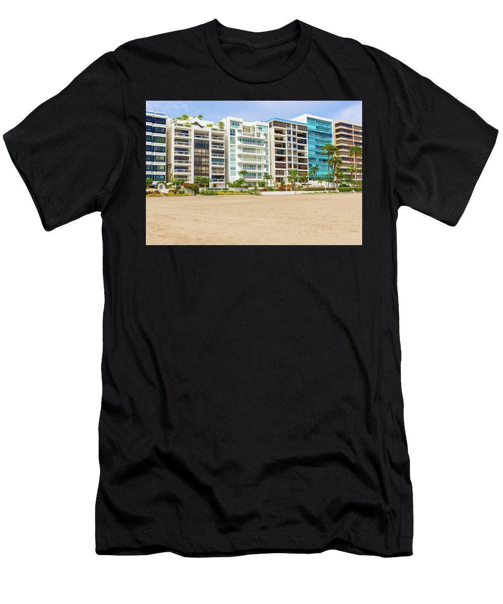 Beach Men's T-Shirt (Athletic Fit) featuring the photograph Playa De Chipipe In Salinas, Ecuador by Marek Poplawski