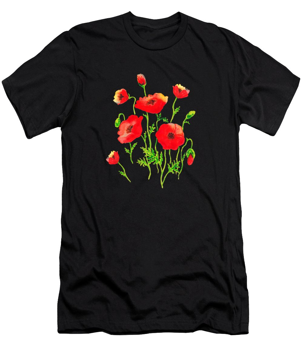Poppy Men's T-Shirt (Athletic Fit) featuring the painting Playful Poppy Flowers by Irina Sztukowski