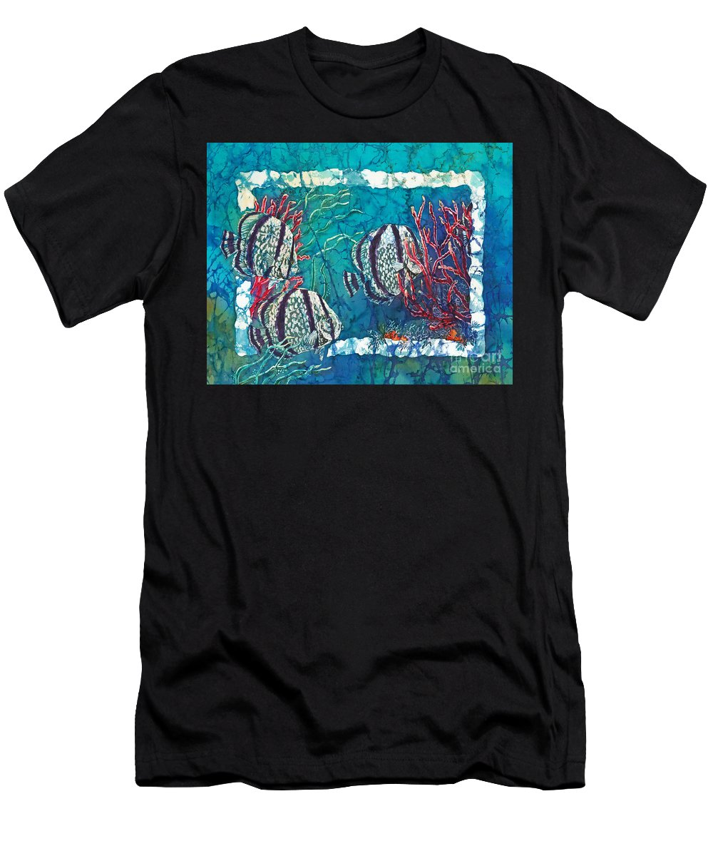 Fish Men's T-Shirt (Athletic Fit) featuring the painting Playful Trio by Sue Duda